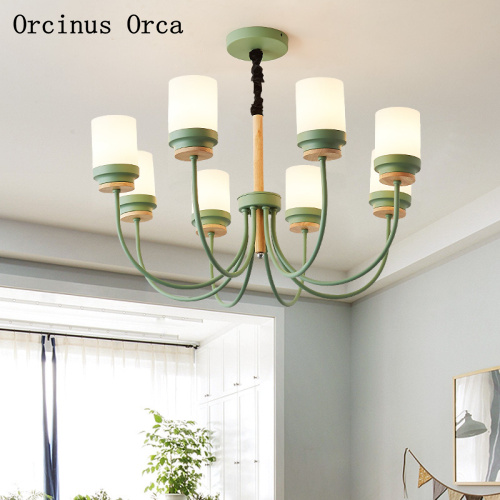 American creative green chandelier living room dining room bedroom Nordic modern compact LED iron pendant lamp free shipping|Pendant Lights| |  - title=