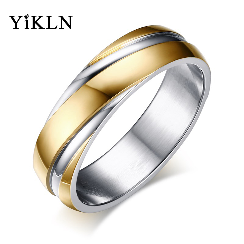 YiKLN Fashion Stainless Steel Twill Couple Ring For Women Men Rose Gold/Black Gun Plated Engagement Wedding Ring Jewelry JB057