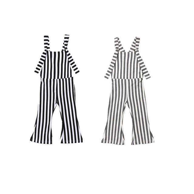 1d002bcc68 2018 Kids Baby Girl Stripe Bell-Bottom Bib Brace Pants Overalls Striped  Romper Jumper Fashion