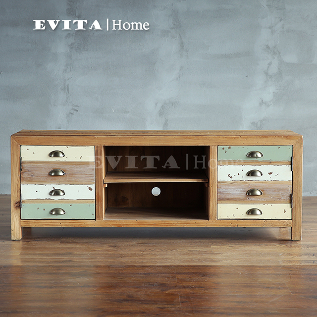 French European Retro Mix And Match Colored Wood Furniture Two TV Cabinet  Trial Fight Color TV