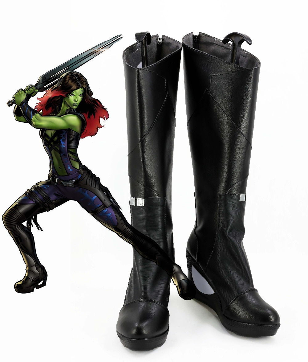 The Avengers Guardians of the Galaxy Gamora Cosplay Shoes Halloween Black High Boots Custom-made European Size