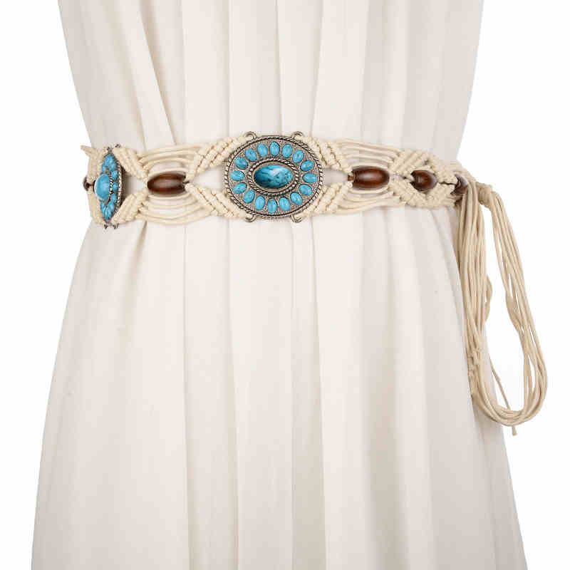 Fashion Knotted Decorative Wide Belt High Quality Wax Rope Hand-woven Belts For Women Wasitband Female Belt