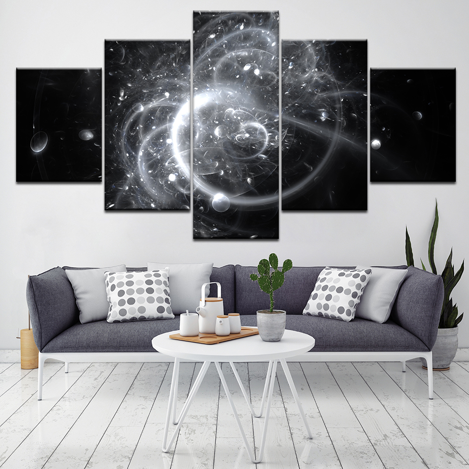 Canvas Painting 5 Pcs Canvas Art Starry Sky Planets Light Sea Printed Wall Art Home Decor Poster Picture for Living Room Artwork