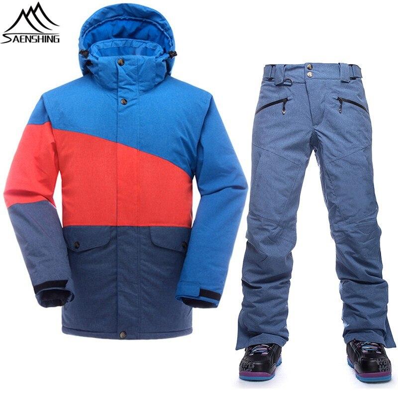 Saenshing waterproof ski suit men thermal ski jacket snowboard pants male outdoor skiing and snowboarding set