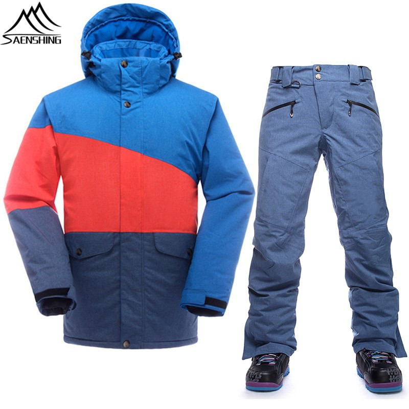 Saenshing waterproof ski suit men thermal ski jacket + snowboard pants male outdoor skiing and snowboarding set winter snow suit