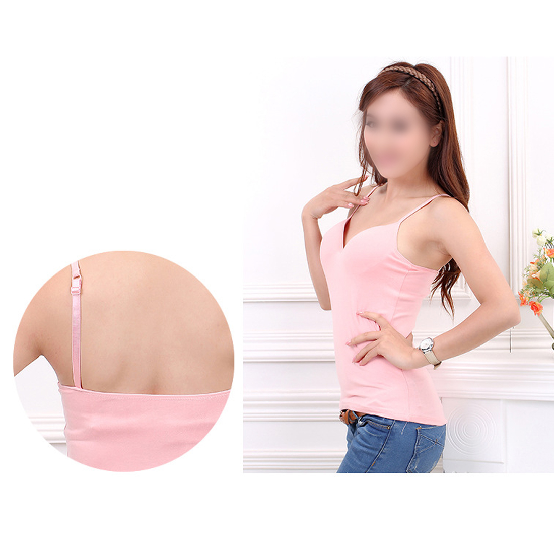d795e1784355a Top Sell Women Adjustable Strap Built In Bra Padded Bra Modal Tank Top  Camisole Cami High Quality comfortable