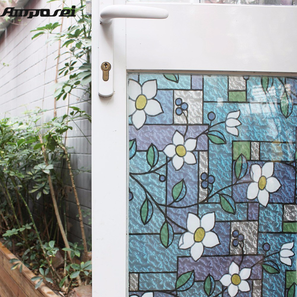 Online Shop 45x200cm Flower Privacy Textured Stained Glass Window ...