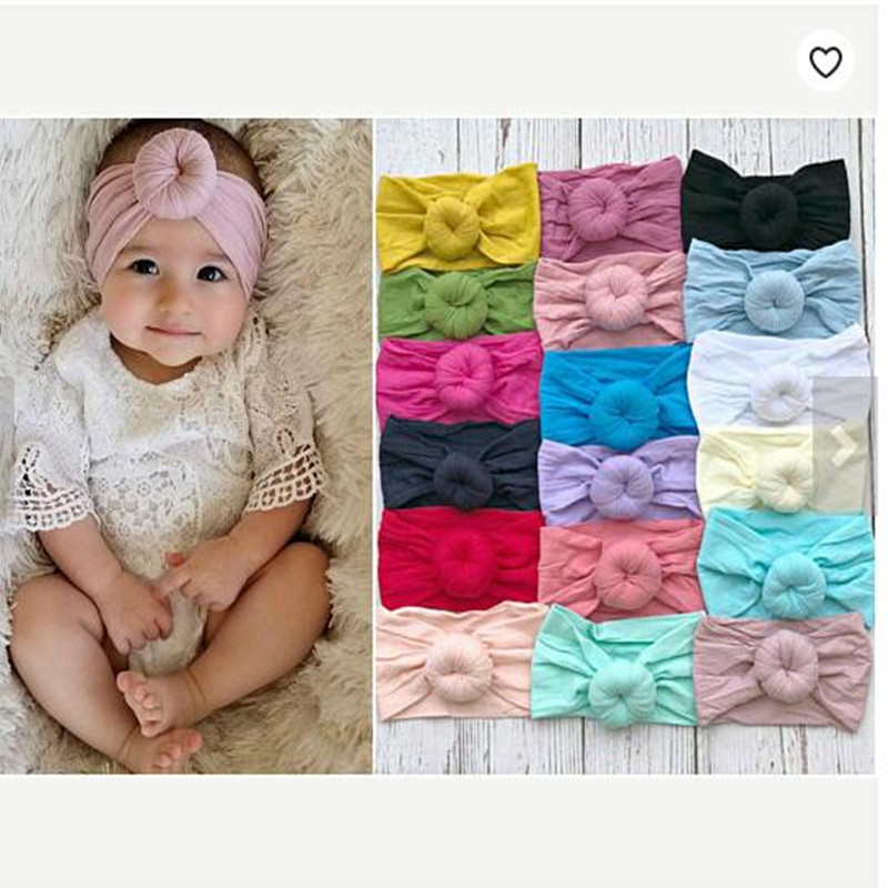 Fashion New Arrvied Girls Round Knot Nylon Headbands High Elastic Wide Nylon Head Bands Baby Girls Turban Round Hair Accessories