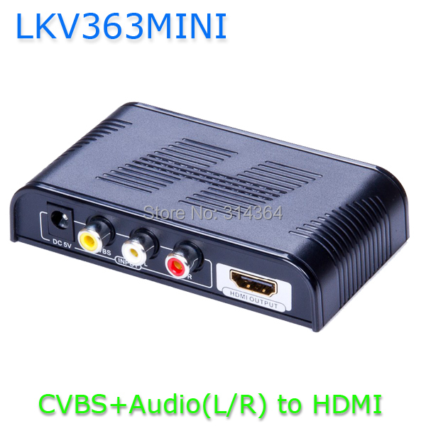 LKV363Mini New AV to HDMI Converter CVBS+Audio(L/R) to HDMI With Scaler Up to 720P /1080P Free Shipping ...