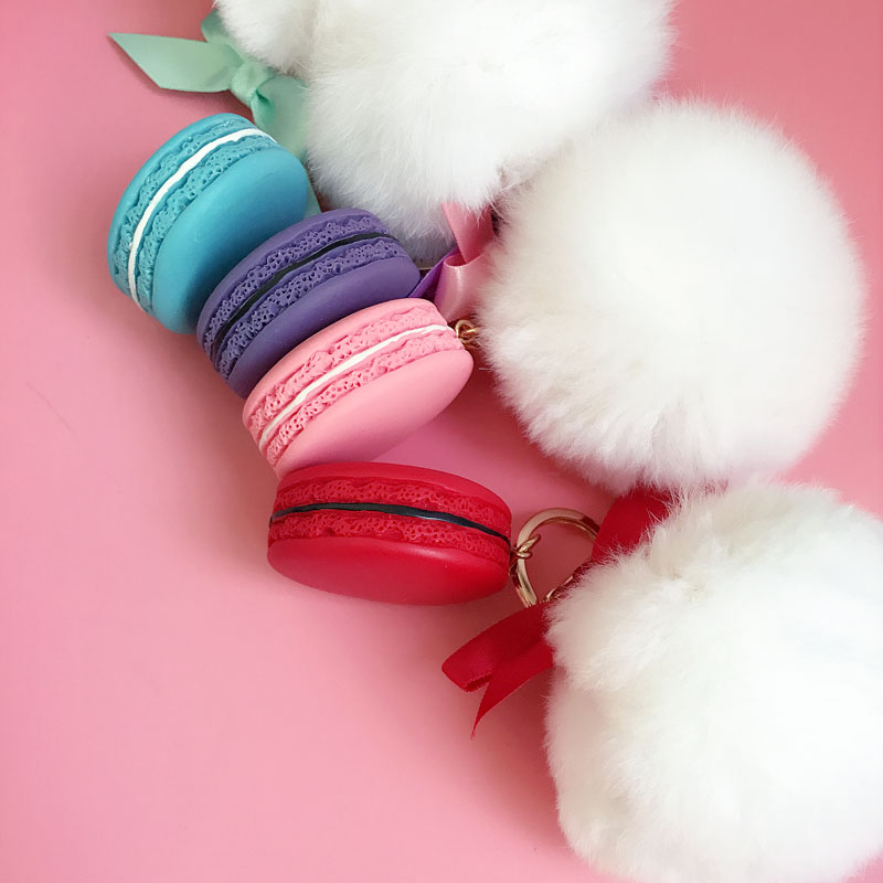 Round Key Chain France Macarons Keychains Rabbit Real Fur Ball Key - Fashion Jewelry - Photo 4
