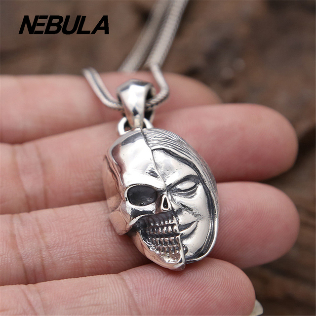 925 Sterling Silver Vintage King Kong Double-sided Buddha Skull Pendant Necklace Jewelry For Men & Wonmen Punk Thai Silver