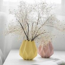 Nordic Modern Ceramic Vase Macaron Origami White Pink Light Gray Blue Vases Home Wedding Bedroom Living Room Decoration