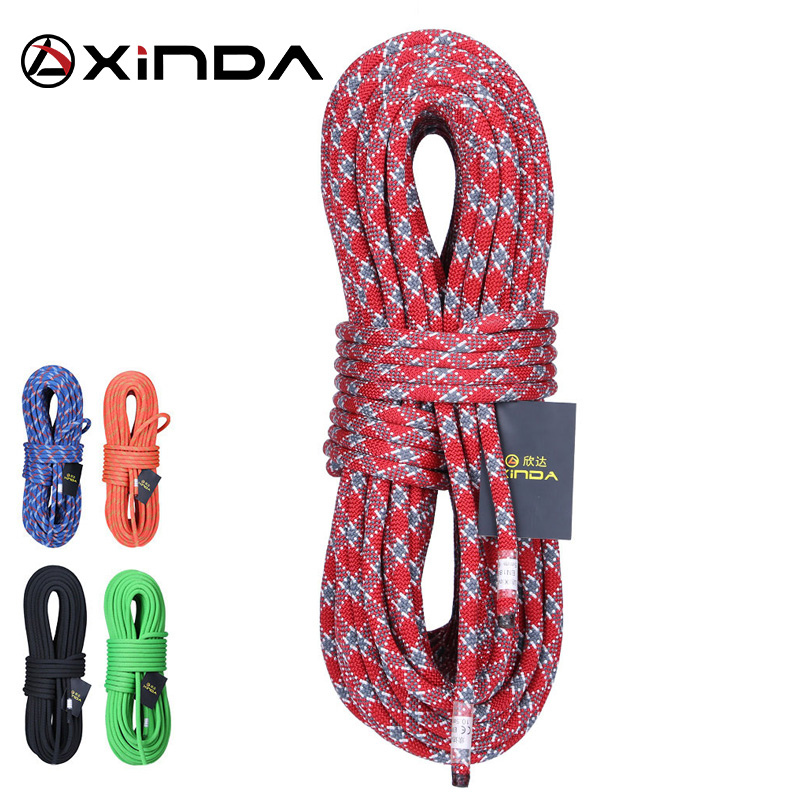 XINDA 10M Camping Rock Climbing Rope 10mm Statisk Rope Diameter 5200lbs High Strength Lanyard Safety Climbing Equipment Survival