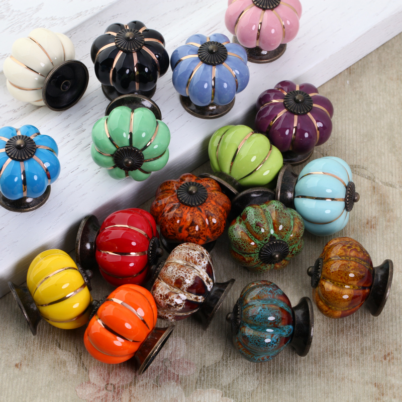 40mm Pumpkin Ceramic Door Knobs Cabinet Knobs and Handles for Furniture Drawer Cupboard Kitchen Pull Handle 8 color vintage retro ceramics drawer knob cabinet cupboard door pull handle furniture decor kitchen furniture knobs and handles