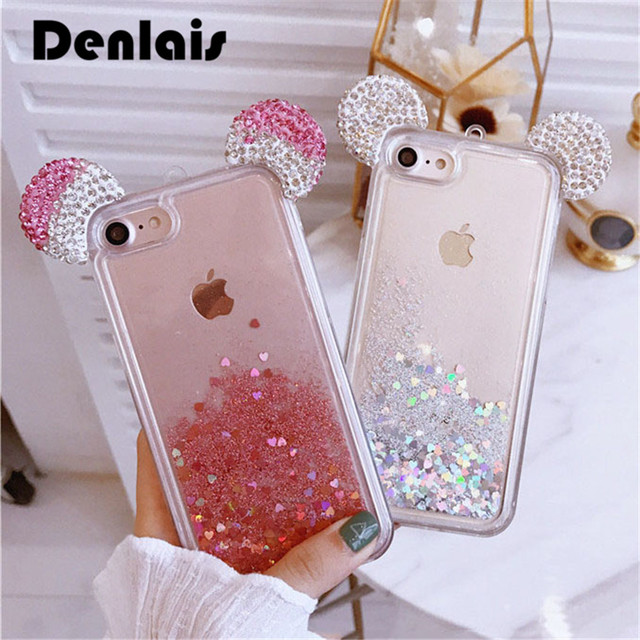 promo code d366d a0f36 US $4.59 |Luxury Dynamic Liquid Glitter Case For iPhone 7 6S Fundas Glitter  Rhinestone Mickey Ears Cute Phone Case For iPhone 6 7Plus Capa-in ...