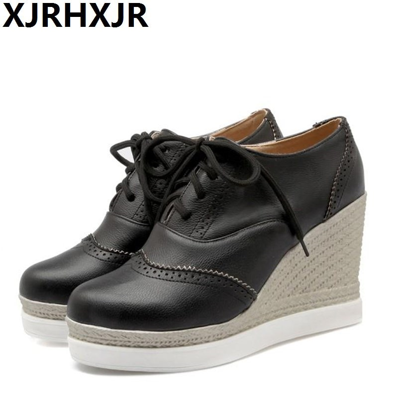 XJRHXJR 2019 New Women Pumps Platform Black Lace Up Shoes Women Casual Shoes Wedges Heel Pu Leather 9cm High Heels Size 33-43