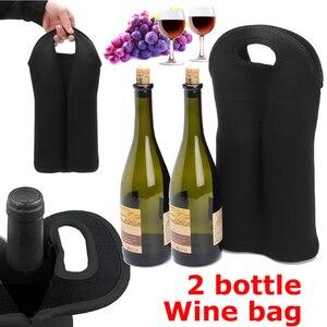 Image 5 - Schwarz Wein Flaschen Isolierte Reise Träger Wein Flasche Halter Kühltasche Durchführung Tote Picknick Lagerung 2 Flaschen Wein Tasche Abdeckungen
