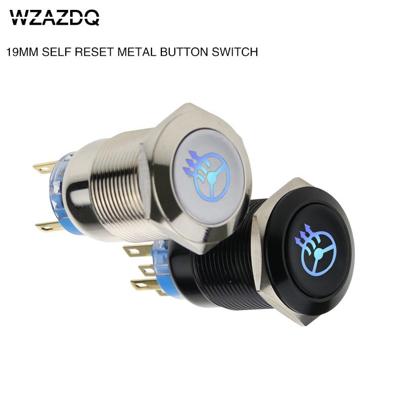 цена на 19 mm metal self-reset button switch oxidation black steering wheel heating switch voltage 6V12V24V220V.