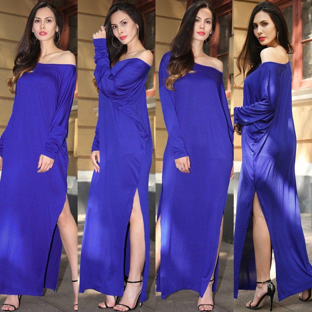 Compra gris vestido largo con la raja online al por mayor de China ...