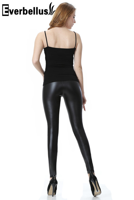 ccf4fdebd84 Everbellus Fitness Leather Leggings for Women Black Brillant Femme Fitness  Mid Waisted Leather Leggings Sexy Push Up Slim Pants