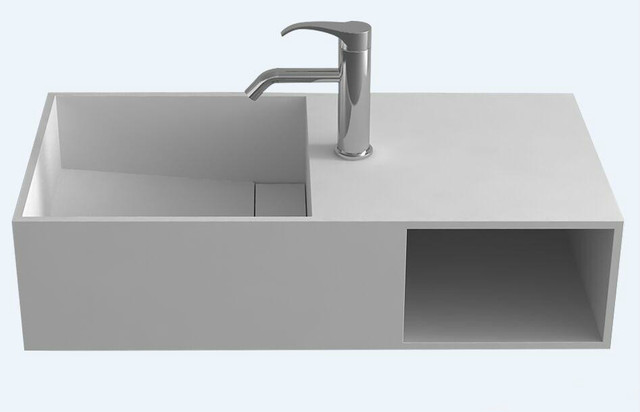 Rectangular Wall Hung Wash Sink Solid Surface Stone Wall Mounted Wash Basin  With Storage Cabin RS3837