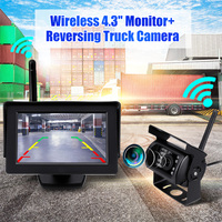Car Truck Bus Rear View Backup Camera System 2.4G Wireless Night Vision with 4.3 Inch LCD Monitor for 12 24V Truck Trailer