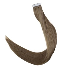 Full Shine 100% Real Remy Human Hair Tape in Extensions Solid Color #6 Medium Brown Straight ins Skin Weft Cheveux