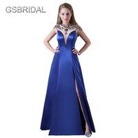 GSBRIDAL Royal Blue Shoulder Beading One Side Slit Skirt Prom Celebrity Dress