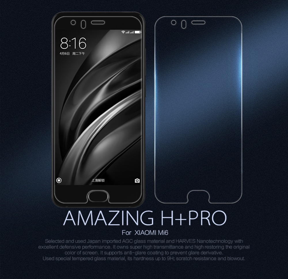 For xiaomi mi6 mi 6 screen protector Nillkin Amazing H+PRO Tempered Glass For xiaomi mi6 glass discovery touch green glass 2.5d