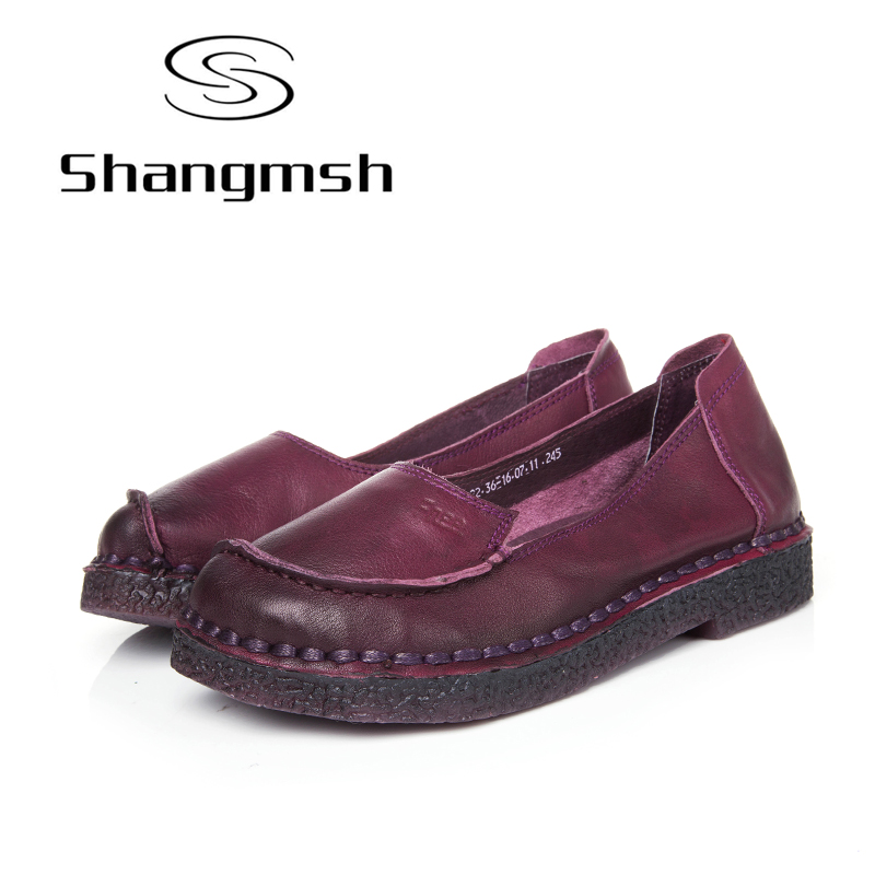 Shangmsh Brand Shoes 2017 Spring Summer women's shoes Handmade Genuine Leather Shallow Silp on shoes for women soft Ladies flats leather shoes handmade shoes spring and summer new style soft genuine leather flats shoes shoes for pregnant women flats