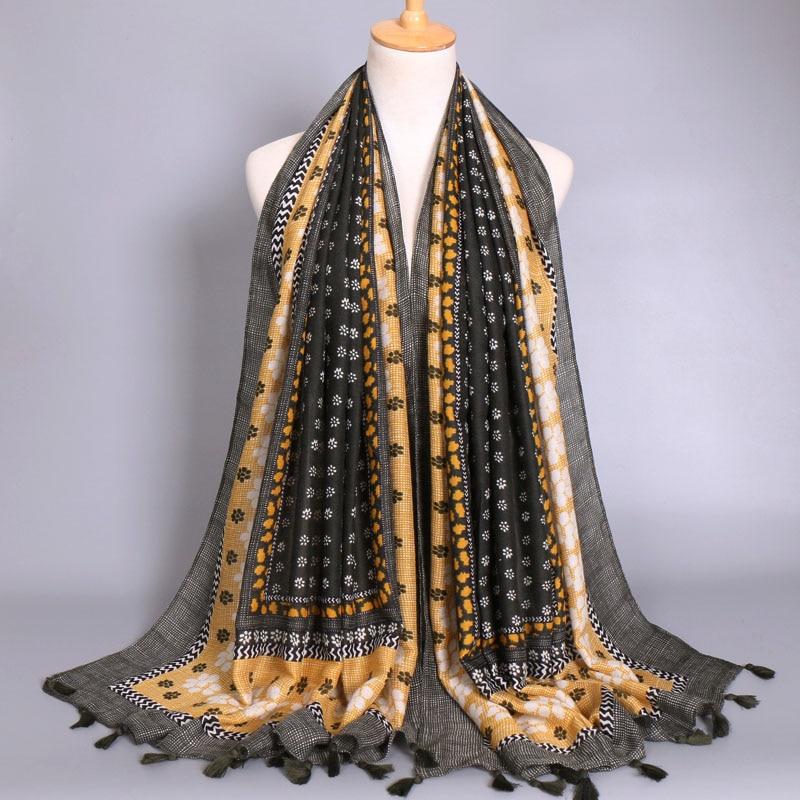 2897bcbcc323 Click here to Buy Now!! Design agréable Femmes coton printe plaid floral  châles glands bohème bandeau musulman de mode d