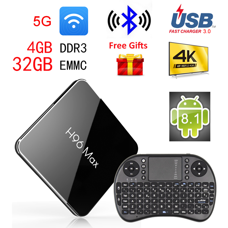 2018 H96 MAX X2 Smart TV Box Android 8.1 TVBox 4GB Ram 32GB/64GB Rom 1080p 4K H.265 USB3.0 2.4G/5.8G BT4.1 WIFI 4K Set Top Boxes