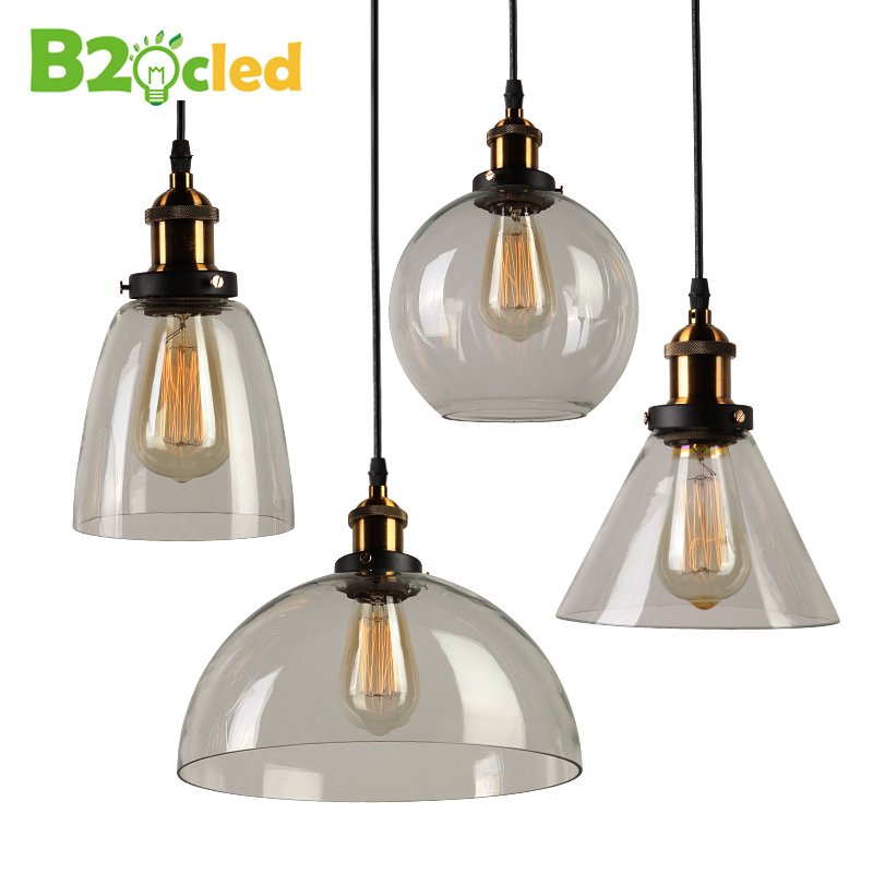 Modern creative New Vintage Clear Glass Pendant Lights Copper Hanging Lamps for Bar restaurant retractable wall