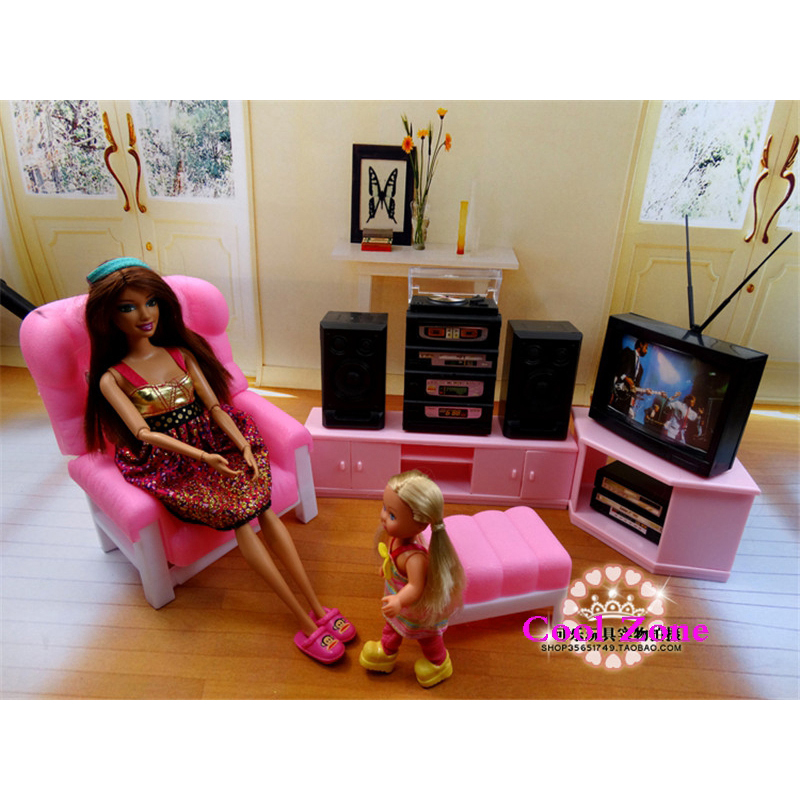 US $22.12 21% OFF|Miniature Living Room Furniture for Barbie Doll House  Pretend Play Toys for Girl Free Shipping-in Dolls Accessories from Toys &  ...