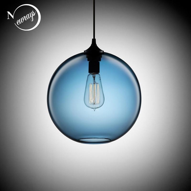 Лофт Винтаж античная промышленных 6 Цвет Стекло мяч подвесные светильники для Кухня Ресторан обеденный/Гостиная кафе-бар