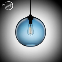 Modern Hanging Industrial Colourful Glass Ball Led Pendant Lamps E27 Lights Cord For Kitchen Restaurant Dining
