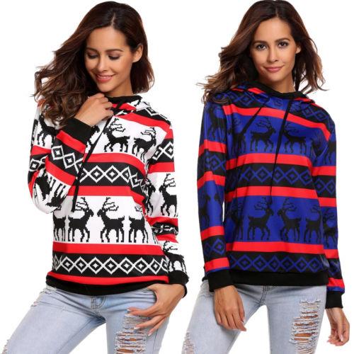 2017 New Women Autumn Winter Clothes Christmas Xmas Jumper Top Harajuku Snowflake Striped Printed Sweatshirts Outfit