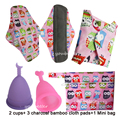Healthier Medical Grade Silicone Menstrual Cups Charcoal Bamboo Cloth Sanitary Menstrual Pads