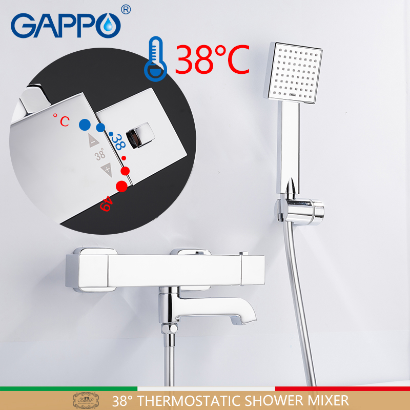 GAPPO shower Faucets bathroom faucets bath shower thermostatic faucet bath tub thermostatic rainfall taps shower system watercolor shell mouldproof bath shower curtain