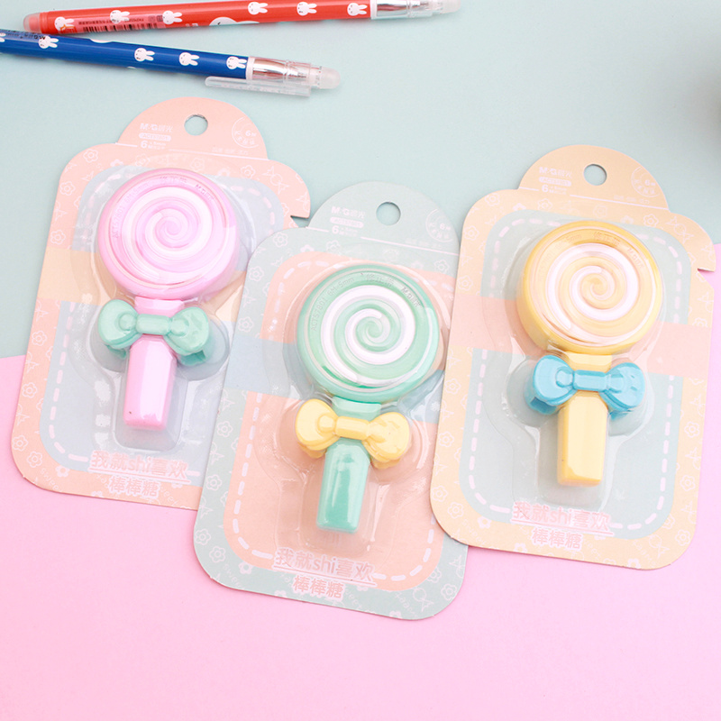 1X 6 Meters Long Adorable Lollipop Design Mini Correction Tape School Office Supply Student Stationery Kids Gift Candy Color