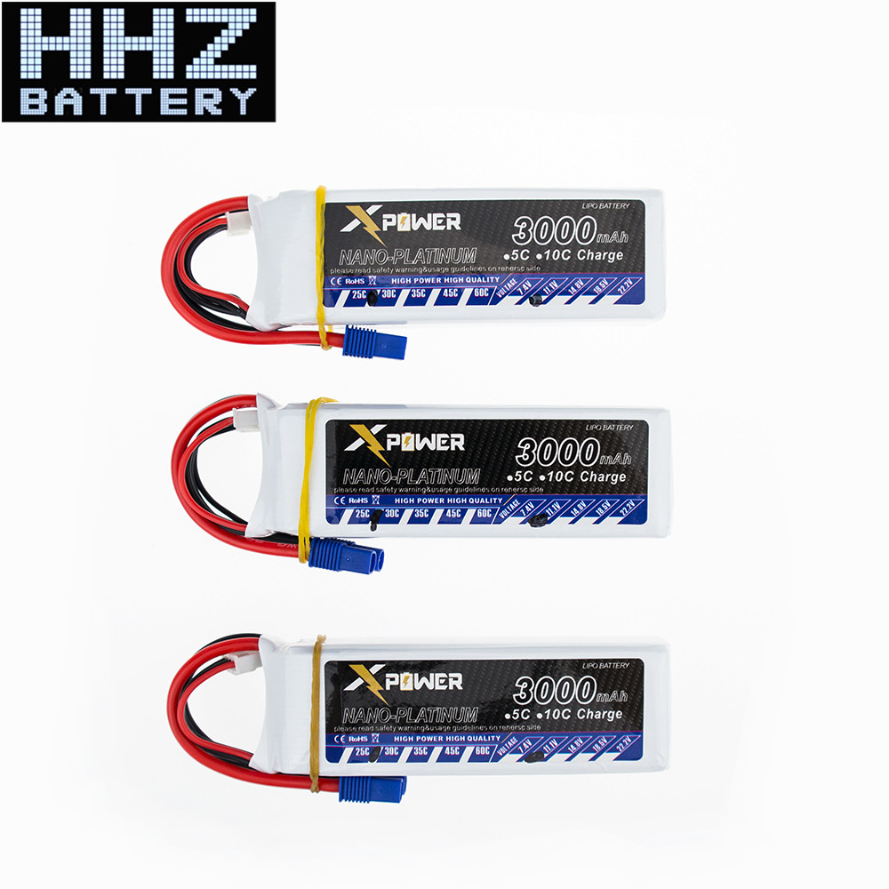 3pcs Lipo Batteries 11.1V 3000mAh 3S EC3 Plug 30C High Capacity Lithium Polymer Drone Bateria Helicopters Quadcopter RC Car Boat
