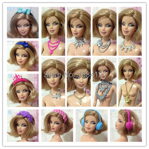 2016 new 50pcs lot wholesale doll necklaces jewelry hair accessories for barbie doll accessories for barbie