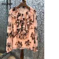 100%Silk Blouses Runway Fashion Women O Neck Tropical Tree Print Long Sleeve Casual Tops Blouse Ladies Spring Blusas 2019