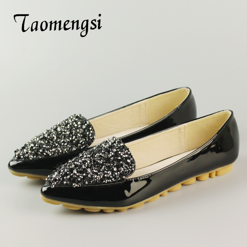 Big Size Footwear Woman Flats Shoes Bling Beads Pointed Toe Boat Shoes For Women Black Solid Fashion Soft Sole Ladies Shoe 43 2017 new fashion spring ladies pointed toe shoes woman flats crystal diamond silver wedding shoes for bridal plus size hot sale