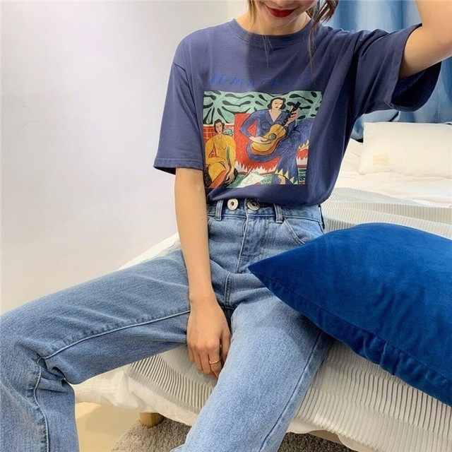 Vintage Print O Neck Short Sleeve Woman Cotton T-shirt Fashion 2019 Casual Loose Girls Summer Cotton Tees Pullovers 3