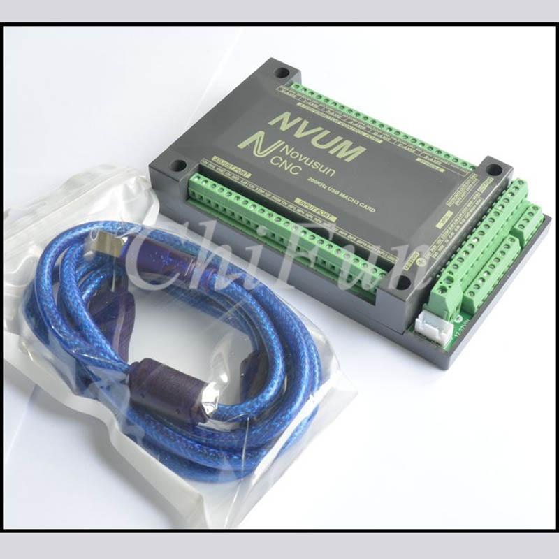 Freeshipping English version NVUM 6 axis USB MACH3 interface board 200K stepper motor control pulse output