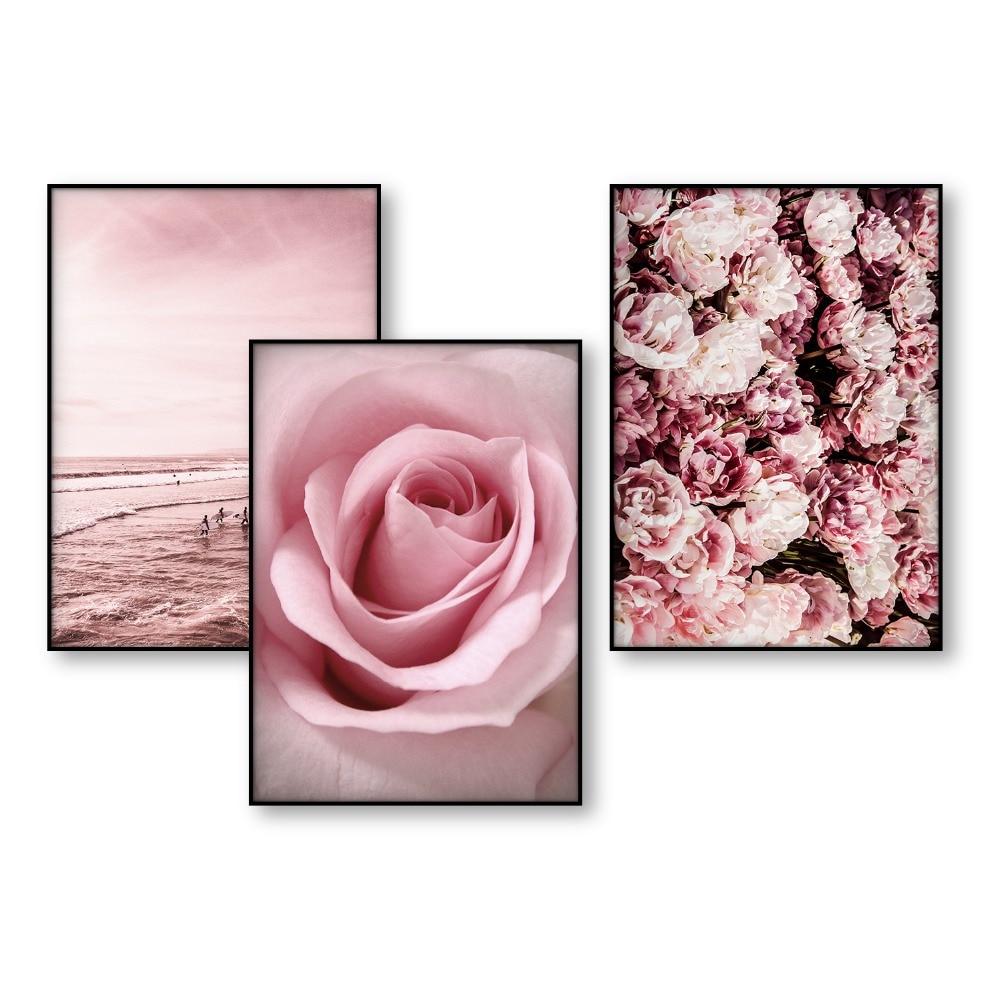 Hot Sale Poster Art Blush Pink Flower Beach Decor Scandinavian Art