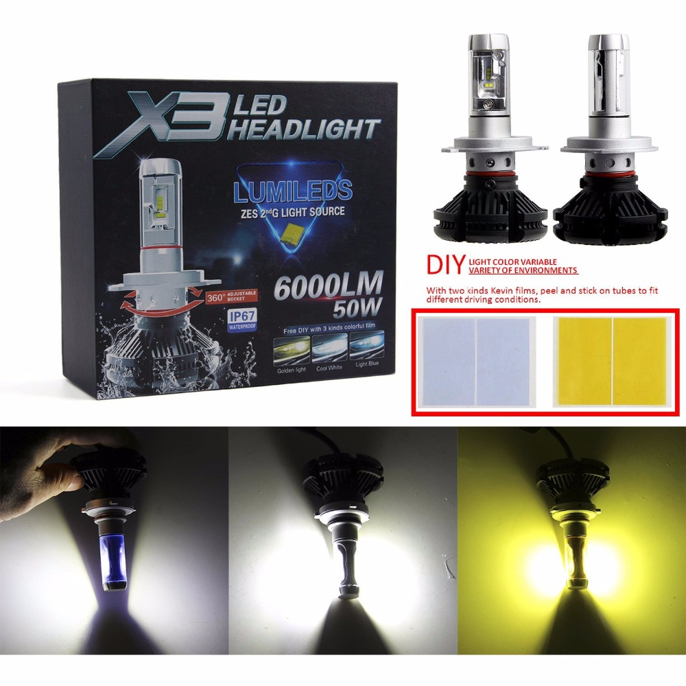 Pair Car H4 9003 HB2 100W Super Bright High Power ZES LED Chips and DIY 3 Colors (White/Gold/Ice Blue) Hi/Lo LED Headlight Bulbs