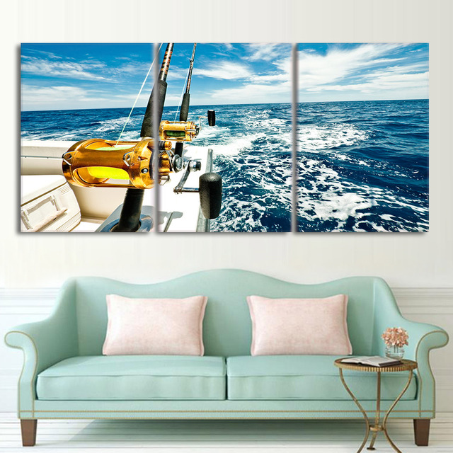 Poster hd printed framework painting canvas 3 panel for Fishing pole decor