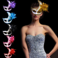 New 2017 New Peacock Sequins Flower Mask Half Face Mask Adults Women Make-up Decorations Christmas Dress Party Supplies